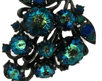 VIVID BLUE WEISS Leaf or Grape Brooch