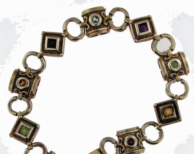 Sterling Silver Multiple Gemstone Bracelet with Gold Wash
