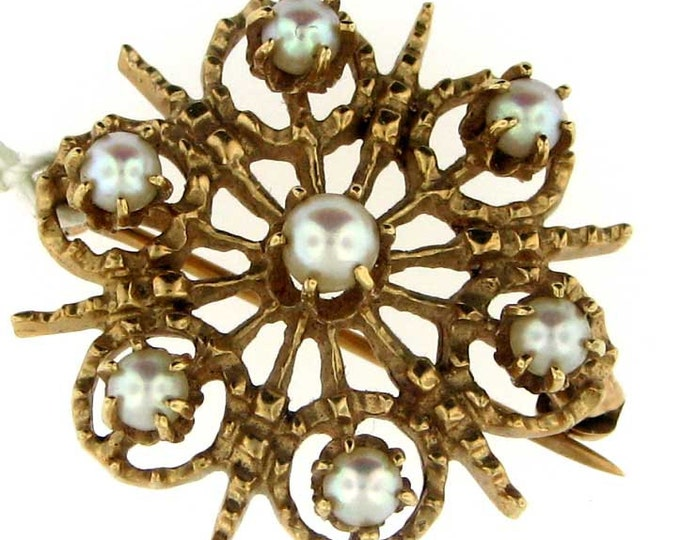Solid Gold Vintage Retro Circular Cultured Akoya Saltwater Pearl Textured Brooch Pin