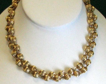 VINTAGE MONET DOUBLE Strand Gold Tone Beads