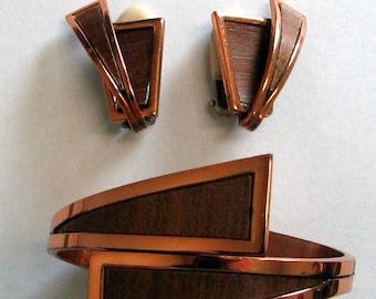 Vintage Retro Renoir Copper Bracelet and Earring Set