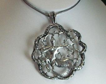 Large Sterling Silver Sagittarius Pendant on Chain