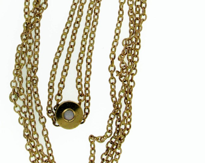 Vintage Victorian Edwardian Gold Lady's Watch Chain Necklace with Opal Slide