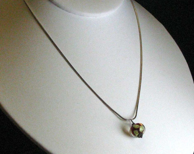 Adorable Venetian Glass Bead Necklace on a Sterling Silver Snake Chain