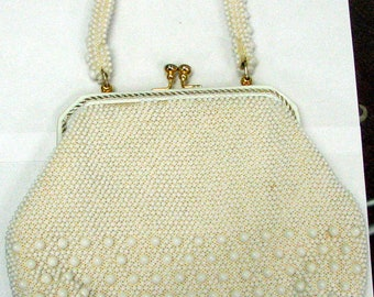 MILKY WHITE BEADED Vintage Retro Purse