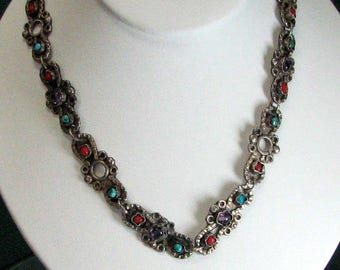 sterling Silver Multi-Gemstone Necklace and Earring Set