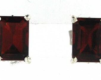 STERLING GARNET JANUARY Birthstone Stud Earrings