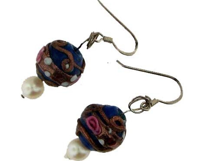 Navy Blue and Pink Wedding Cake Venetian Glass Bead and Cultured Pearl Earring Set