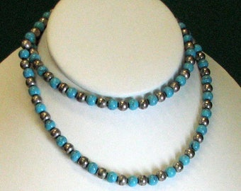 Sterling Silver and Turquoise Alternating Bead Necklace