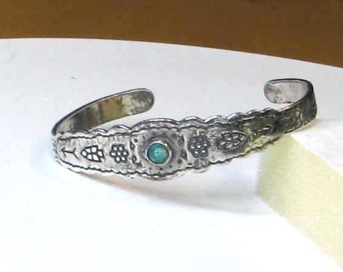 Vintage Fred Harvey Style Sterling Silver Native American Bracelet