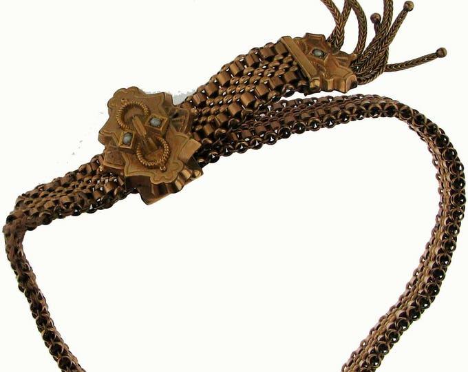 Vintage Victorian Gold Filled Mesh Adjustable Bracelet