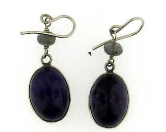 Classic Purple Amethyst Cabochon Sterling Silver Drop Dangle Earrings