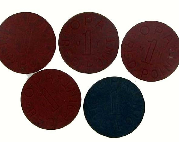 Set of Five Vintage World War II OPA Tokens - Four Red and One Blue