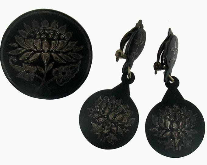 Curious Vintage Gunmetal Damescene Earring and Pin Set
