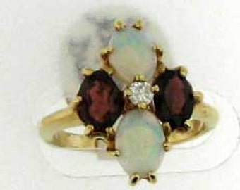 Vintage Garnet and Opal Statement Ring with Diamond Center