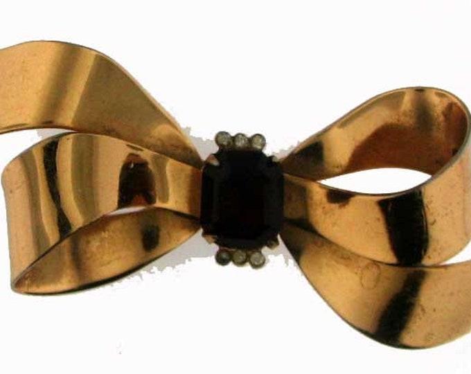 VINTAGE RETRO CORO Gold Tone Bow Brooch with Rhinestone