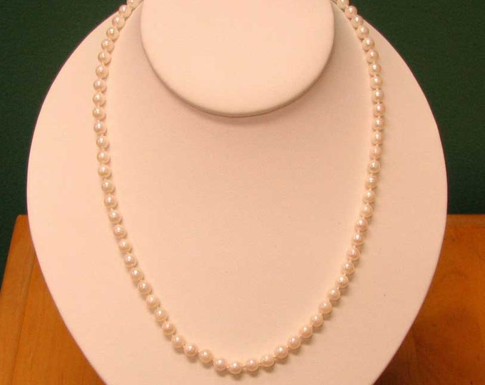 Vintage Knotted Strand of White Akoya Cultured Saltwater Pearls