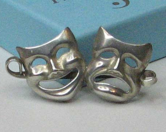 Comedy Tragedy Theatre Mask Brooch in Sterling Silver