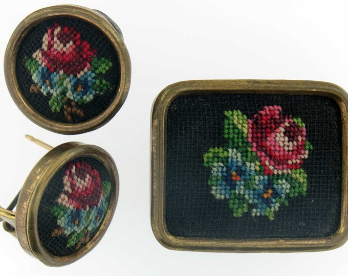 Vintage Gold Tone Needlepoint Brooch Pin and Earring Set