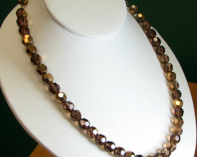 Vintage Retro Two Strands of Bronze AB Glass Necklaces