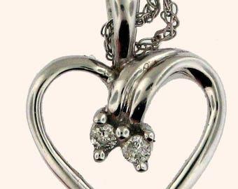 ADORABLE White Gold Heart Pendant with Diamonds