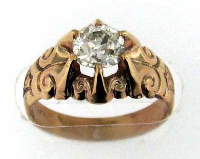 Vintage Victorian Detailed Rose Gold Diamond Engagement Ring with Old Mine Cut Diamond