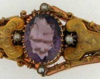 TWO COLOR GOLD Amethyst Victorian Brooch