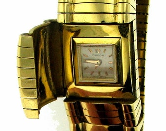 Vintage Retro 18K Gold Lady's Omega Watch with Concealed Dial