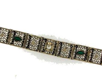 Vintage Art Deco White Gold Filigree Bracelet