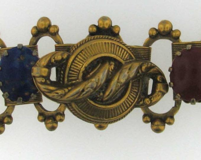 Vintage Victorian Edwardian Glass Gemstone Gold Filled Bracelet