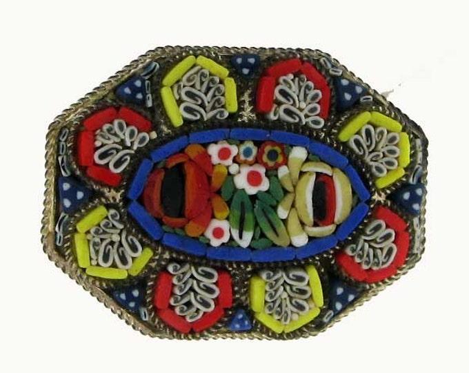 Vintage Retro Italian Milliflori Micro Mosaic Brooch in Vivid Bright Colors