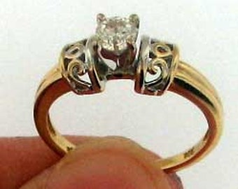 Unique Style Vintage Solitare Diamond Ring Approx. 0.25 Carat