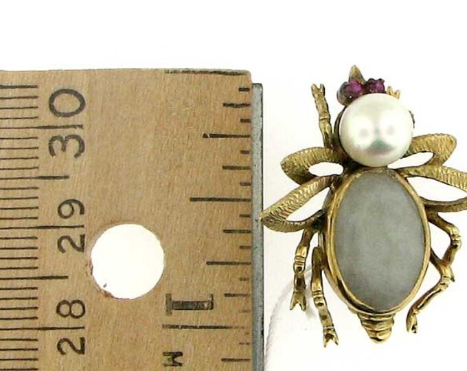 Vintage Retro Pearl and White Jadeite Beetle Brooch