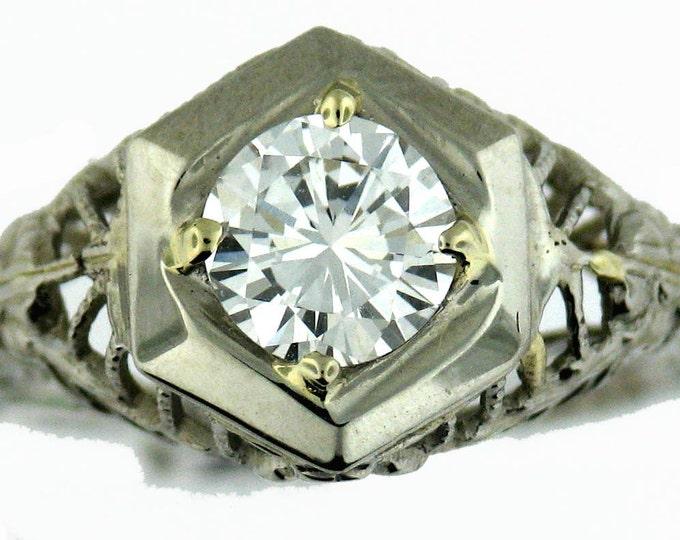 MUST GO Vintage Art Deco Filigree Half Carat Round Diamond Solitare Engagement Ring