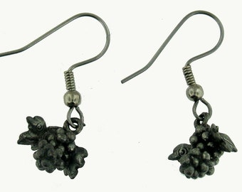 Whimsical Sterling Silver Grape Bunch Dangle Earrings