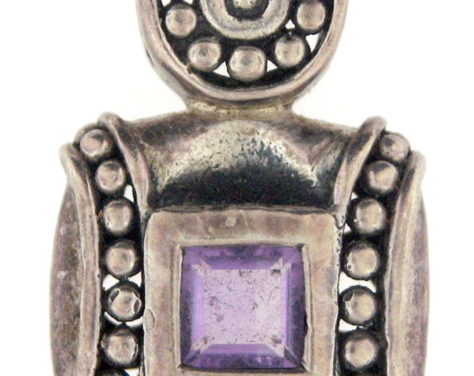 Decorative Sterling Silver Heavy Amethyst Pendant