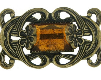 Vintage Victorian Brass and Citrine Colored Glass Decorative Bar Pin Brooch
