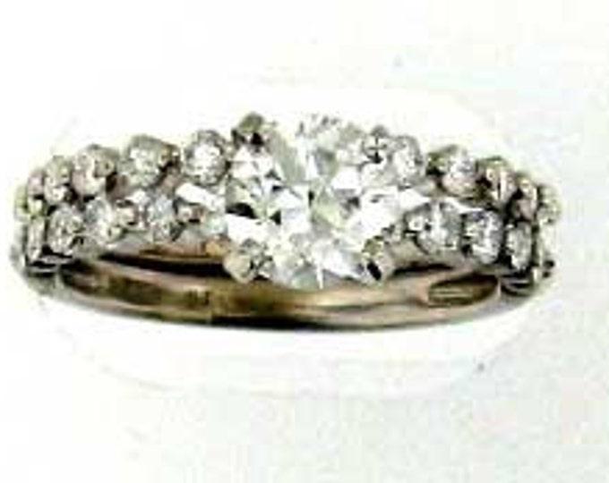 White Gold Diamond Wedding Set - Round Brilliant Center - 1.50 Carat Total Weight