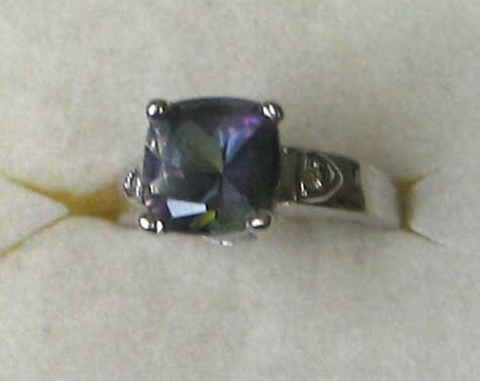 MYSTIC TOPAZ and Diamond Sterling Silver Ring