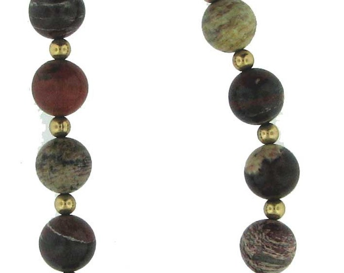 Beautiful Burgundy and White Zebra Jasper Strand Bracelet with Gold Filled Spacers