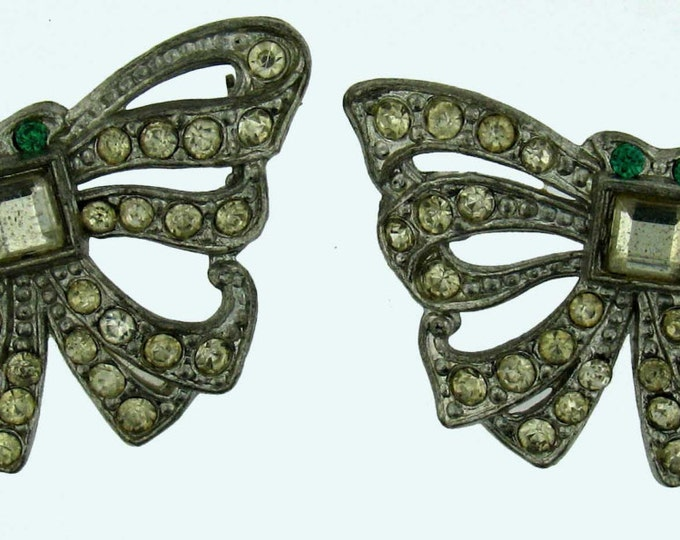 Vintage Art Deco Silver Tone Bow Emerald Green and Clear Rhinestone Scatter Pins