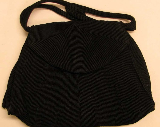 Vintage Textured Boho Style Black Handbag