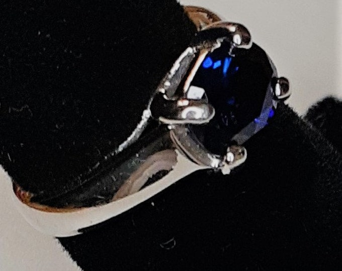 14K white gold lab created sapphire ring