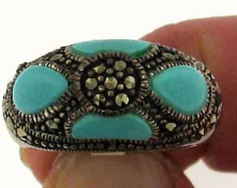Vintage Art Deco Style Turquoise Blue Enamel and Marcasite Silver Ring
