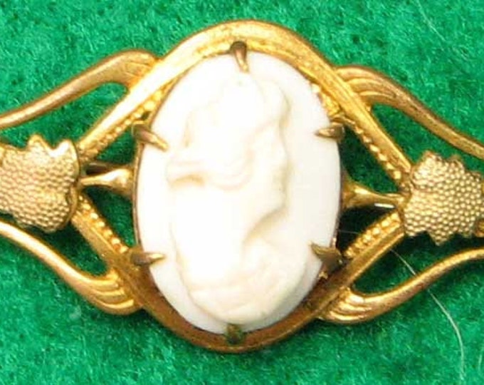 Vintage Edwardian Gold Filled Conch Shell Cameo Brooch