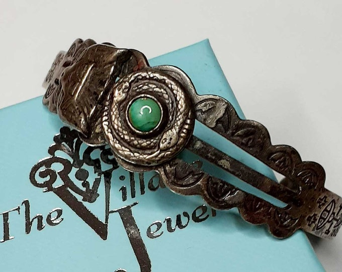 Vintage Sterling Silver Native American Turquoise Cuff Bracelet with Snake
