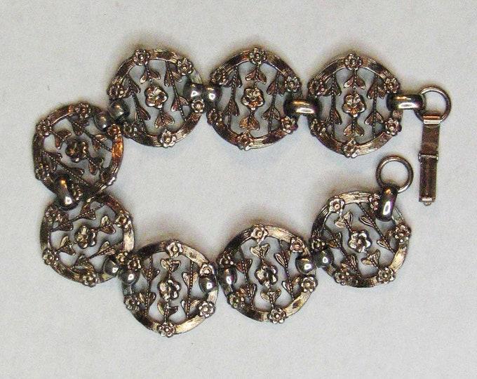 Edwardian Style Silver Tone Filigree Flower Link Bracelet