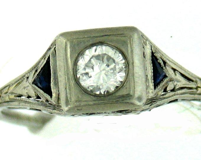 MUST GO Vintage Art Deco White Gold Filigree Diamond and Sapphire Ring