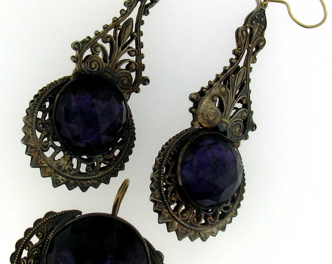 Vintage Victorian Brass Purple Glass Drop Earrings and Pendant Set