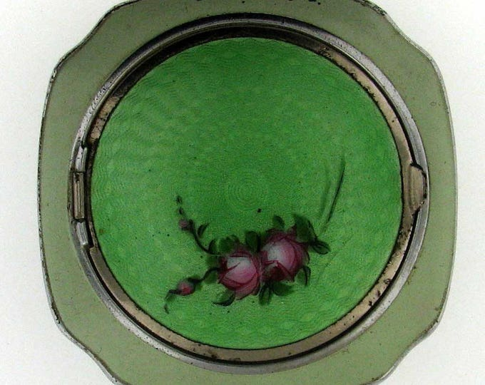 Vintage Art Deco Green Guillouche Powder Compact